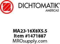 Dichtomatik MA23-16X8X5.5 PISTON SEAL NITRILE 90 DURO PISTON SEAL METRIC