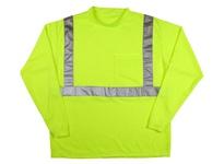 MCR LTSCL2LXL Class 2 Poly T-Shirt 2 Silver Stripe Long Sleeve Fluor Lime