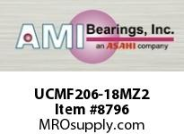 AMI UCMF206-18MZ2 1-1/8 ZINC WIDE SET SCREW STAINLESS SSHOUSING W/ZINC COATED BEARING