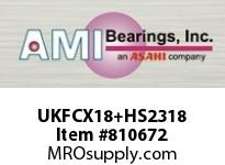 AMI UKFCX18+HS2318 3-1/8 MEDIUM WIDE ADAPTER PILOTED F CARTRIDGE SINGLE ROW BALL BEARING
