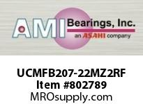 AMI UCMFB207-22MZ2RF 1-3/8 ZINC SET SCREW RF STAINLESS 3 FLANGE SINGLE ROW BALL BEARING