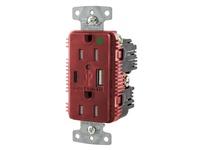 HBL_WDK USB8200AC5R RCPT HG DUP 15A 125V 5A 5V USB PRT AC R