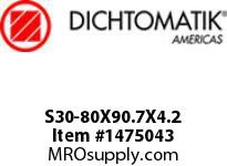 Dichtomatik S30-80X90.7X4.2 ROD SEAL 40 PERCENT BRONZE FILLED PTFE ROD SEAL WITH NBR 70 O-RING METRIC