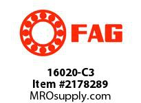 FAG 16020-C3 RADIAL DEEP GROOVE BALL BEARINGS