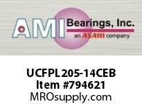 AMI UCFPL205-14CEB 7/8 WIDE SET SCREW BLACK 4-BOLT FLA SINGLE ROW BALL BEARING