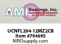 AMI UCNFL204-12MZ2CB 3/4 ZINC WIDE SET SCREW BLACK 2-BOL COV SINGLE ROW BALL BEARING