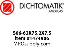 Dichtomatik S06-63X75.2X7.5 ROD SEAL 40 PERCENT BRONZE FILLED PTFE ROD SEAL WITH NBR 70 O-RING METRIC