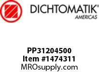 Dichtomatik PP31204500 SYMMETRICAL SEAL POLYURETHANE 92 DURO WITH NBR 70 O-RING STANDARD LOADED U-CUP INCH