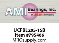 AMI UCFBL205-15B 15/16 WIDE SET SCREW BLACK 3-BOLT F SINGLE ROW BALL BEARING