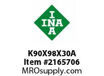 INA K90X98X30A Needle roller cage assembly