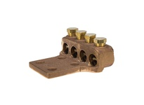 NSI TL500-4L4 500 - 300 MCM 4 WIRE CAST BRONZE TERMINAL LUG W/ (4) 1/2^ MTG HOLES