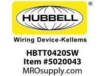 HBL_WDK HBTT0420SW WBPRFRM RADI T 4Hx20W PREGALVSTLWLL