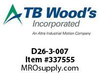TBWOODS D26-3-007 HUB S/A W/RFN LOCK ELEMENT