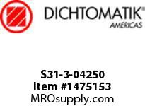 Dichtomatik S31-3-04250 ROD SEAL 40 PERCENT BRONZE FILLED PTFE BUFFER SEAL WITH NBR70 O-RING INCH