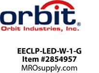Orbit EECLP-LED-W-1-G LED TUBE EMER & EXIT COMBO WHT HSG1F GN LTRS