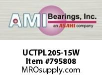 AMI UCTPL205-15W 15/16 WIDE SET SCREW WHITE TAKE-UP BEARING