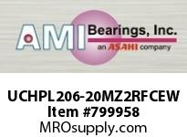 AMI UCHPL206-20MZ2RFCEW 1-1/4 ZINC SET SCREW RF WHITE HANGE COVERS SINGLE ROW BALL BEARING