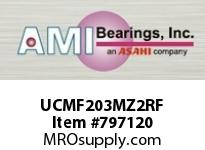 AMI UCMF203MZ2RF 17MM ZINC SET SCREW RF STAINLESS 4- SINGLE ROW BALL BEARING