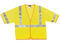 MCR CL3MLXL Class 3 Poly Mesh Safety Vest 2 Silver Stripe Fluor Lime
