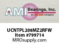 AMI UCNTPL208MZ2RFW 40MM ZINC SET SCREW RF WHITE NARROW SINGLE ROW BALL BEARING