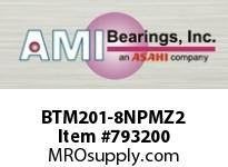 AMI BTM201-8NPMZ2 1/2 ZINC NARROW SET SCREW NICKEL 3- SINGLE ROW BALL BEARING