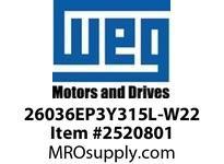 WEG 26036EP3Y315L-W22 260KW 3600 3 60/50 460 315L IEC-CI