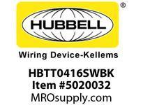 HBL_WDK HBTT0416SWBK WBPRFRM RADI T 4Hx16W BLACKSTLWLL