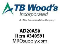 TBWOODS AD20A58 CLAMP HUB AD20-A.625 DIA 3/16K