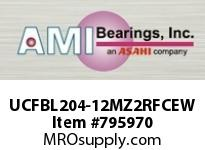 AMI UCFBL204-12MZ2RFCEW 3/4 ZINC SET SCREW RF WHITE 3-BOLT CLS COV SINGLE ROW BALL BEARING