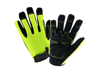 West Chester HVG86150/S Job 1 - Velcro Wrist OPP Hi Dexterity Glove Synthetic Leather lycra Forchettes HiViz Green Spandex back Reinforced fingertips sure grip reinforcement in thumb saddle padded palm woven logo to protect investmen