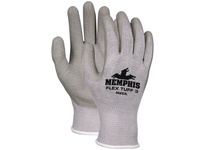 MCR 96883XL FlexTuff III 10 Gauge Gray Cotton/Poly Shell Gray Crinkle Latex Dipped Palm & Fingertips