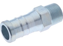 "E02899 Male Hose Nipple Plated Steel 5/8"" Hose ID 1/2"" NPT Shank Length 1.36"" Machined"