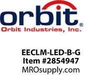 Orbit EECLM-LED-B-G MICRO TWO-HEAD LED EMER & EXIT COMBO BLK HSG GN LTRS