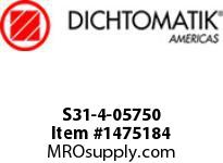 Dichtomatik S31-4-05750 ROD SEAL 40 PERCENT BRONZE FILLED PTFE BUFFER SEAL WITH NBR70 O-RING INCH