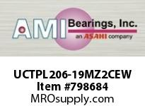 AMI UCTPL206-19MZ2CEW 1-3/16 ZINC WIDE SET SCREW WHITE TA OPN/CLS COVERS SINGLE ROW BALL BEARING