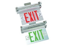 Fulham FHEX23WDGEMSD FireHorse Emergency Exit Sign - LED Recessed Edge-Lit - White Housing - Dual Face - Green Letters - Battery