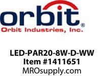 Orbit LED-PAR20-8W-D-WW LED PAR20 8W 120V DIMMABLE 3000K WARM WHITE