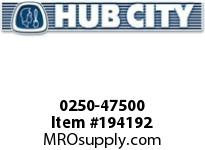 HUBCITY 0250-47500 HW2064IR 301.18 .25HP HELICAL-WORM DRIVE