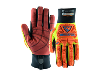 West Chester 87020/3XL The RigCat 2 has a synthetic leather double palm with reinforced RED PVC palm that provides oil resistance and excellent gripping and visibility long neoprene cuff with ID tag with place for name TPR heavy duty knuc