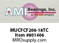 AMI MUCFCF206-18TC 1-1/8 STAINLESS SET SCREW TEFLON PI CART SINGLE ROW BALL BEARING