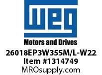 WEG 26018EP3W355M/L-W22 260KW 1800 3 60/50 460 IEC-CI