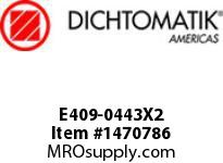 Dichtomatik E409-0443X2 PISTON SEAL E SERIES ASYMMETRICAL U-CUP PISTON SEAL XNBR 85 DURO INTERNALLY LUBED
