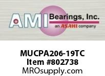 AMI MUCPA206-19TC 1-3/16 STAINLESS SET SCREW TEFLON T BLK SINGLE ROW BALL BEARING