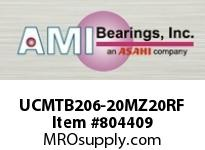 AMI UCMTB206-20MZ20RF 1-1/4 KANIGEN SET SCREW RF STAINLES TAPPED BASE PLW BLK SINGLE ROW BALL BEARING