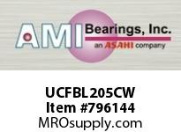AMI UCFBL205CW 25MM WIDE SET SCREW WHITE 3-BOLT FL ROW BALL BEARING