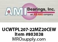 AMI UCWTPL207-22MZ20CEW 1-3/8 KANIGEN SET SCREW WHITE TAKE- OPN/CLS COVERS SINGLE ROW BALL BEARING