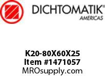 Dichtomatik K20-80X60X25 PISTON SEAL FIVE PIECE PISTON SEAL NBR/POLYESTERELASTOMER/POM METRIC