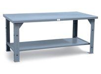 StrongHold T3024SS-AL Stainless Steel Adjustable Height Shop Table 30x24x34 1 Shelves