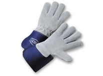 West Chester IC9/S Premium Select Full Leather Back Blue Rubberized Gauntlet Cuff/Sewn with Kevlar
