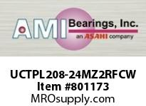 AMI UCTPL208-24MZ2RFCW 1-1/2 ZINC SET SCREW RF WHITE TAKE- COVERS SINGLE ROW BALL BEARING